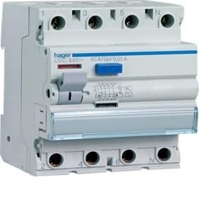 Interruptor de circuito de Hager 4P 25A 30MA AC 4 módulos CDC425h