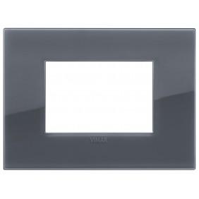 Placca Vimar Arke 3 moduli classic grigio fume...