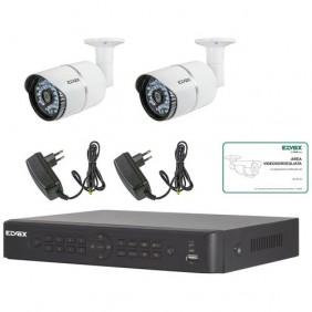 Kit videosorveglianza Elvox 4 canali 2 tel+ 2 alim. AHD 1080P 46550.412B
