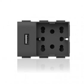 Presa Elettrica Universale Bipasso e Schuko e USB 3 moduli Side 4Box Unica per Bticino Living Antrac
