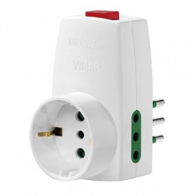 Triple adapter Vimar plug 10A and 2 outlets 10A...
