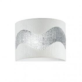 Sconce Fan wall in faux leather white 2XE14...