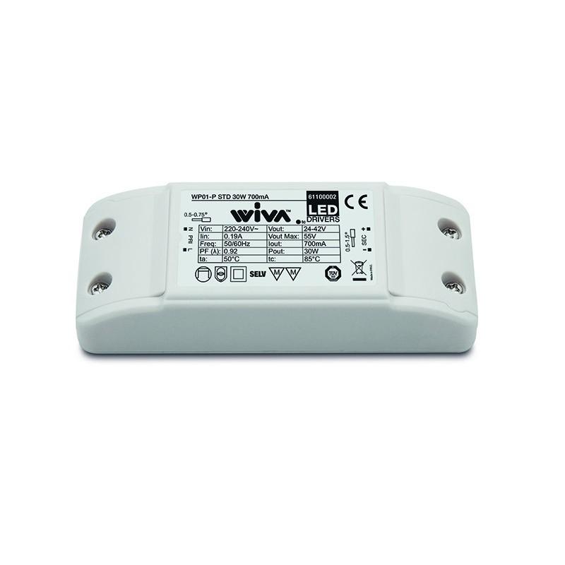 alimentatore elettronico wiva strisce a led 30w cc 700ma 61100002