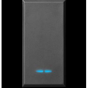 Pulsante Ave Tekla colore nero 1P NA 10A illuminabile 445005