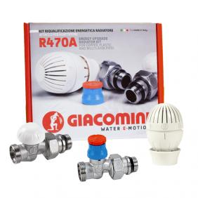 Kit valvola e detentore Giacomini per radiatore 3/8x16 dritto R470AX012