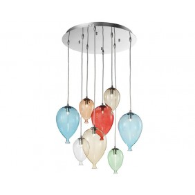 Lampadario Ideal Lux Clown SP7 vetro colorato 7XG9 IP20 100937