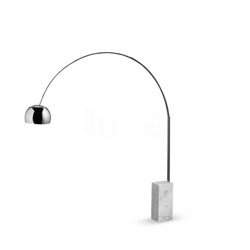Lampada da terra Flos Arco 1XE27 acciaio cromato base marmo F0300000