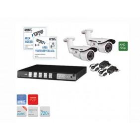 Kit telecamere per videosorveglianza Urmet videoregistratore 4 canali AHD 720P e 2 telecamere 3,66mm