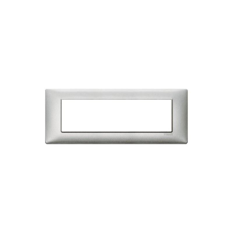 Placca Vimar Plana 7 Moduli argento metallizzato 14657.71