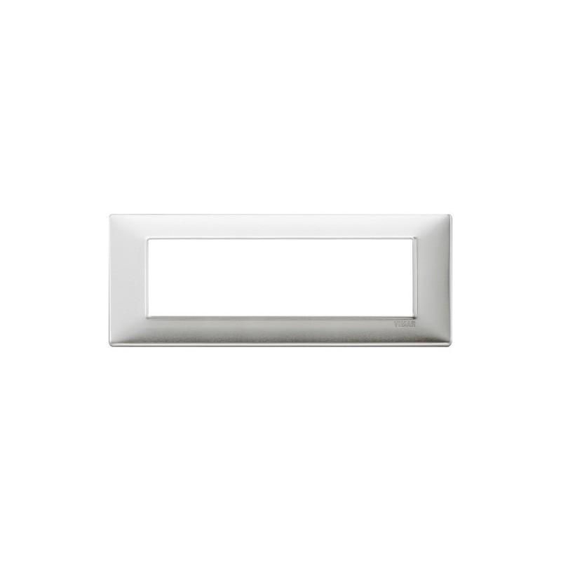 Placca Vimar Plana 7 Moduli alluminio spazzolato 14657.81