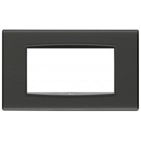 Placa de Vimar Eikon Clásico Reflejo de 4 módulos de color gris 20654.40
