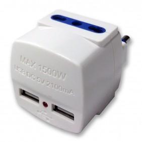 Adattatore Master bianco a due uscite 16A e due alimentatori USB 05691