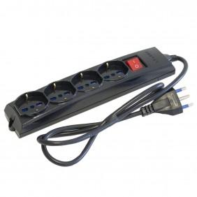 Multipresa Master nera 4 uscite universali con interruttore 74490