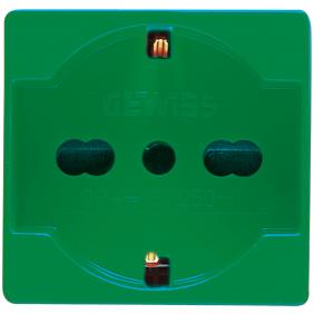 Zócalo de Gewiss sistema de unel alemán de 10/16A color verde GW20282
