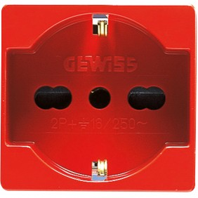 Gewiss System presa Unel bipasso rossa GW20296