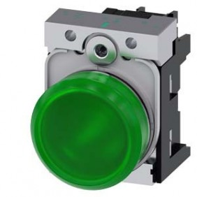 Indicator Siemens bright green LED 230V 22mm...