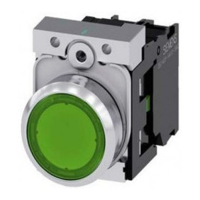 Pulsante Siemens luminoso verde piatto 22mm a LED 24V 3SU11520AB401B