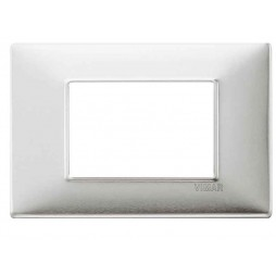 Placca Vimar Plana 3 Moduli alluminio spazzolato 14653.81