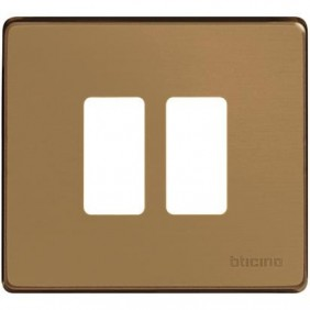 Placca Bticino 2 posti in alluminio bronzo serie MAGIC 500/2/BR