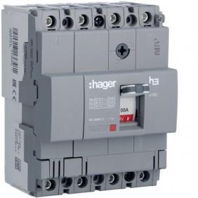 Interruptor de circuito de Hager 4P 100A 18KA X160 circuito moldeado HDA101L