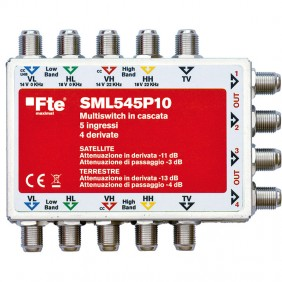 Multiswitch FTE in cascata a quattro ingressi SAT e uno TV SML545P10