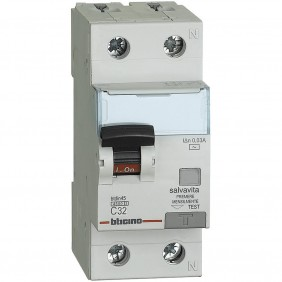 Interruttore Magnetotermico Differenziale Bticino  1P+N 32A 30mA Tipo AC 4,5kA 2 Moduli