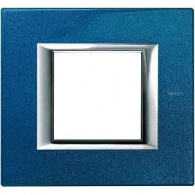 BTICINO AXOLUTE PLACCA 2 MODULI BLU MEISSEN HA4802BM