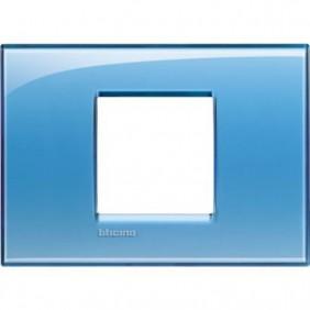 Placca 2 posti centrali quadra Bticino Living Light azzurro LNA4819AD