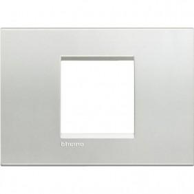 Placca 2 posti centrali quadra Bticino Living Light argento LNA4819AG