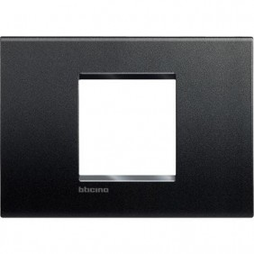 Placca 2 posti centrali quadra Bticino Living Light antracite LNA4819AR
