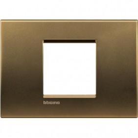 Placca 2 posti centrali quadra Bticino Living Light bronzo LNA4819BZ