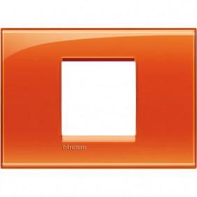 Placca 2 posti centrali quadra Bticino Living Light arancio LNA4819OD