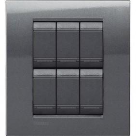 Placca Bticino LivingLight Quadra 3+3 Moduli acciaio LNA4826AC