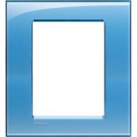 Placca Bticino LivingLight Quadra 3+3 Moduli azzurro LNA4826AD