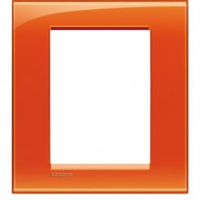 Placca Bticino LivingLight Quadra 3+3 Moduli arancio LNA4826OD