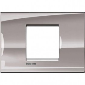 Placca 2 posti centrali quadra Bticino Living Light nichel LNA4819NS