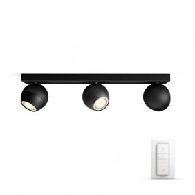 Applique 3 Lamps Philips BUCKRAM HUE Black dimmable 5047330P7