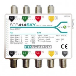 Multiswitch Fracarro SCR 4 ingressi Satellitari 1 uscita derivata per 4 utenti approvato Sky