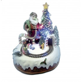 Paesaggio di Natale Giocoplast con Babbo Natale e Trenino in movimento