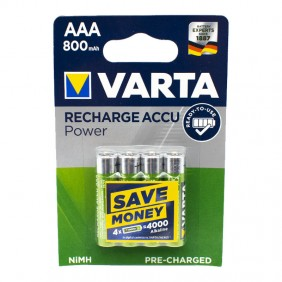 VARTA RECHARGEABLE BATTERY AAA AAA 800mAh BLISTER 4 PIECES