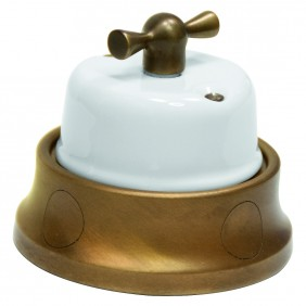 Switch switch porcelain and brass Gambarelli 31.100.14