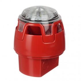 Sirena rossa convenzionale Notifier con strobo e base IP65 CWSS-RR-W5