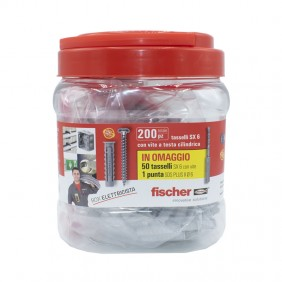 Package Fischer with 200 blocks SX6 screw and 1 tip 00553114