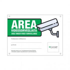 Señal de Área bajo la vigilancia de vídeo Comelit italiano 43500B
