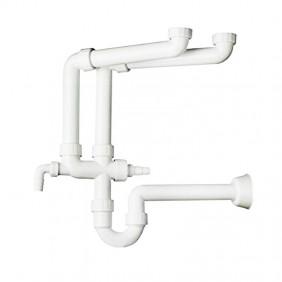 Sifone in PP OMP per lavello a 2 bacini con 2 attacchi lavatrice 2012.454.6