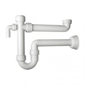 Sifone in PP OMP per lavello a 1 bacino con 2 attacchi lavatrice 2011.454.6