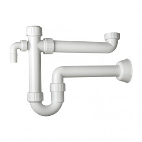 Trap in PP OMP for kitchen sink 1 basin with 2 attacks washing machine 2011.454.6