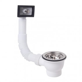 Drain for kitchen sink basket OMP PP with overflow rectangular 132.605.6