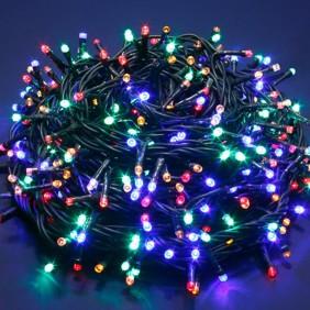 Serie Luci di Natale 240 LED Luce Multicolor cavo scuro per interni/esterni