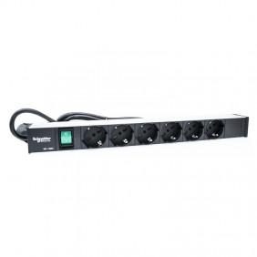 "Pannello Rack Schneider 19"" con 6 prese universali e interruttore LEEX6658N"